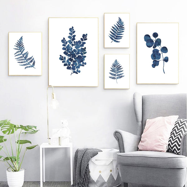 Ink Blue Watercolor Fern Prints