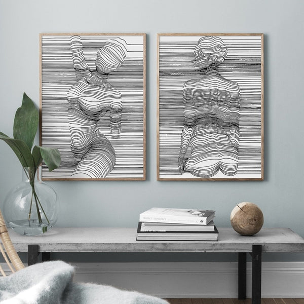 Abstract Body Lines Canvas Artworks - MAHOGANY STREET