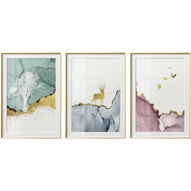 Pastel Watercolors Forest Motives Canvas Prints - MAHOGANY STREET