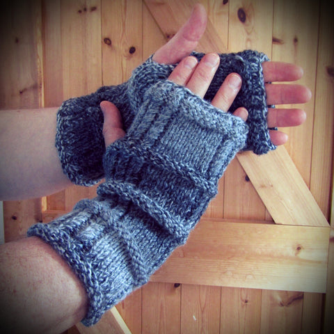 Aran Style Wrist Warmers For Guys, By Bridie Murray