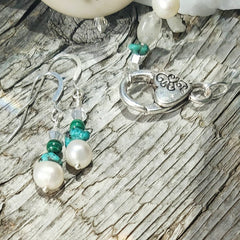 Gemstone Earrings Encorporating Turquoise and Pearl Elements by Lapanda Designs - Parade Handmade a