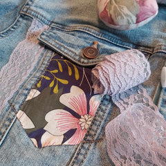 Denim Jacket Pocket Upstyled with Floral Material and Lace - Parade Handmade