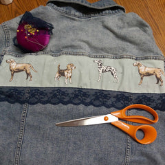 Denim Jacket Upstyling At The Back With Dogs and Lace - Parade Handmade