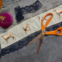 Embellished Denim Jacket Rear View With Dogs and Lace - Parade Handmade