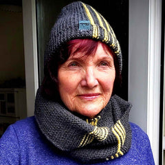 Grey and Yellow Hand Knitted Hat By Shoreline - Parade Handmade