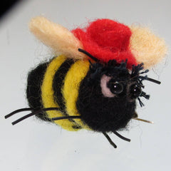Felt Bee Brooch with Red Fedora Hat by Parade - Parade Handmade