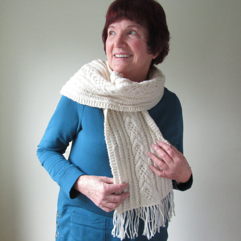 100% Pure Wool, Hand Knitted Aran Scarf, By Jo's Knits - Parade Handmade
