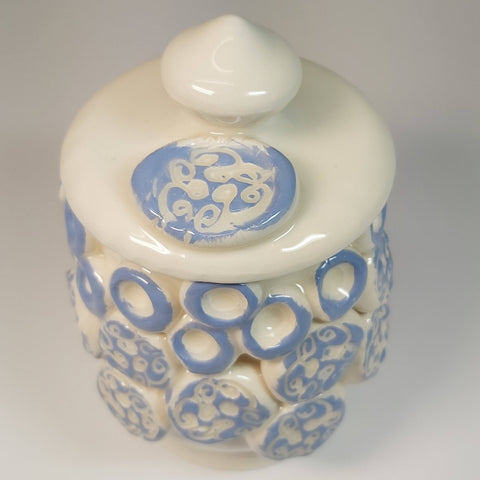 Canister Pot With Blue Swirls, by Kurilla Pottery. Parade-Handmade
