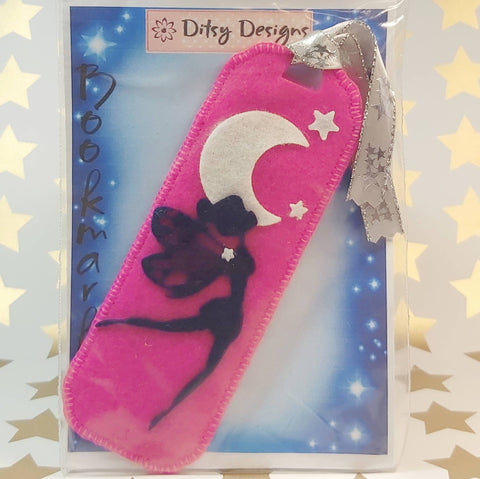 Bookmark, Fairy By Moonlight, Pink, Flying, By Ditsy Designs. Parade-Handmade