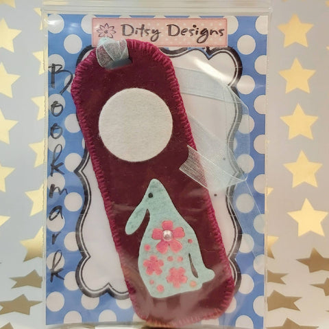 Bookmark, Hare By Moonlight, Wine Felt, By Ditsy Designs. Parade-Handmade