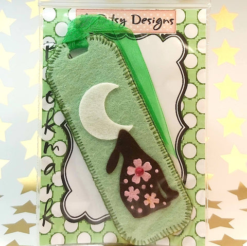 Bookmark, Hare By Moonlight, Green, By Ditsy Designs. Parade-Handmade