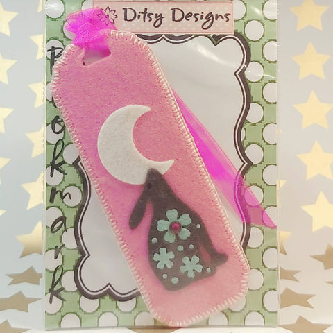Bookmark, Hare By Moonlight, Half Moon, LPink, By Ditsy Designs. Parade-Handmade