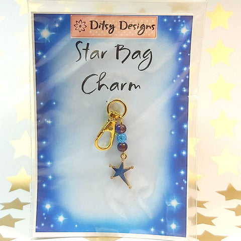 Bag Charm, Blue Star, By Ditsy Designs. Parade-Handmade