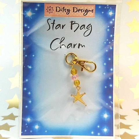 Bag Charm, Gold Moon, By Ditsy Designs. Parade-Handmade