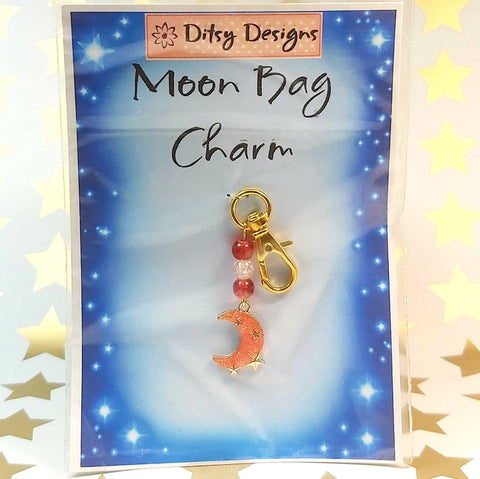 Bag Charm, Pink Moon, By Ditsy Designs. Parade-Handmade