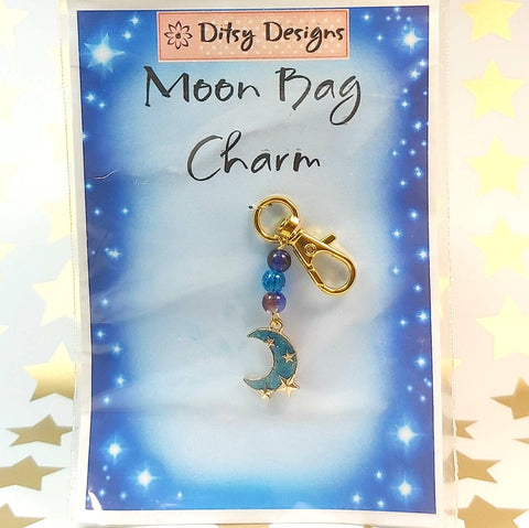 Bag Charm, Teal Moon and Stars, By Ditsy Designs