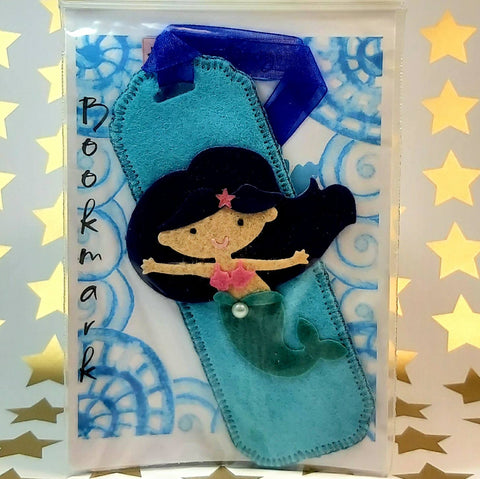 Bookmark, Dark Haired Mermaid on Teal, By Ditsy Designs. Parade-Handmade