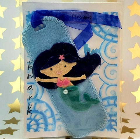 Bookmark, Dark Haired Mermaid on Blue, By Ditsy Designs. Parade-Handmade