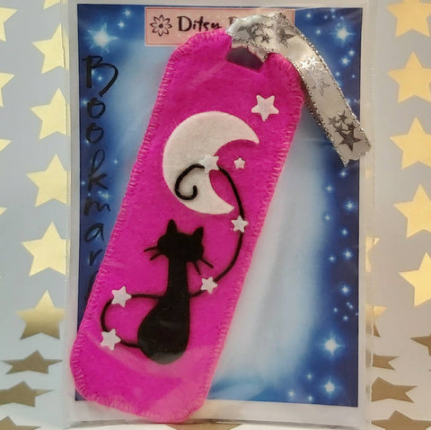 Bookmark, Cat and Moon, Hot Pink, By Ditsy Designs. Parade-Handmade