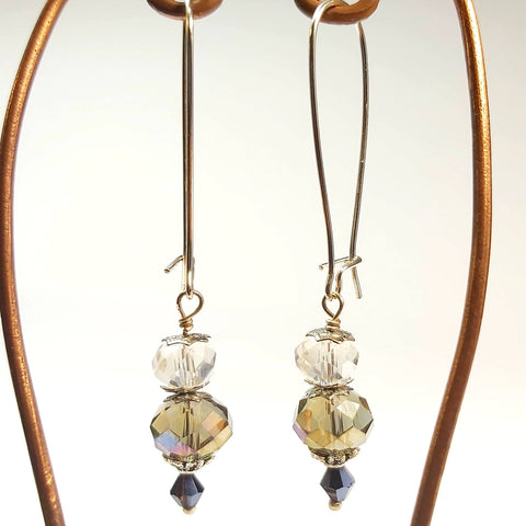 Vintage Style Earring, Drop Topaz Crystal, By Lapanda Designs. Parade-Handmade