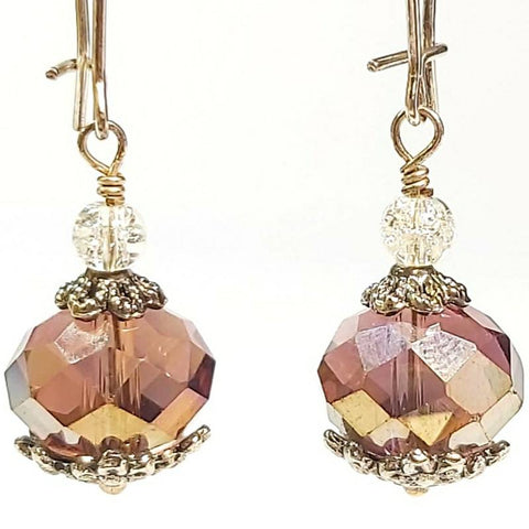 Drop Pink and Bronze Crystal Earrings, By Lapanda Designs. Parade-Handmade