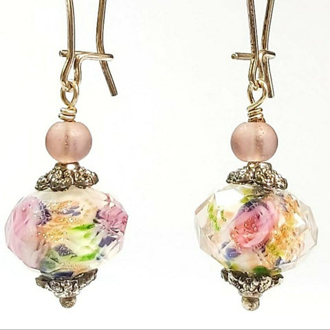 Floral Crystal Earrings, By Lapanda Designs. Parade-Handmade