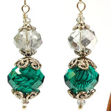 Silver and Green Coloured Crystal Earrings Vintage Style, By Lapanda Designs. Parade-Handmade