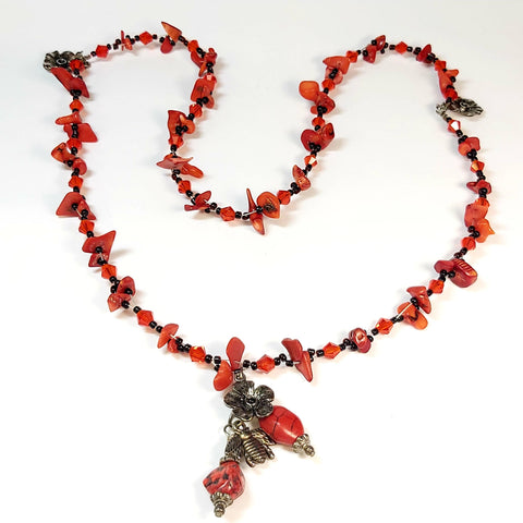 Red Gemstone Necklace, By Lapanda Designs. Parade-Handmade