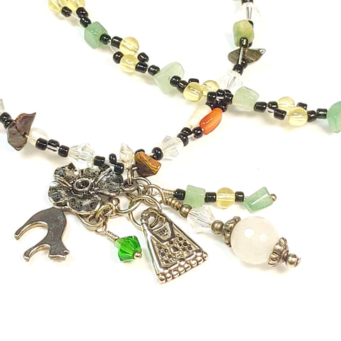 Gemstone Charm Necklace, By Lapanda Designs. Parade-Handmade