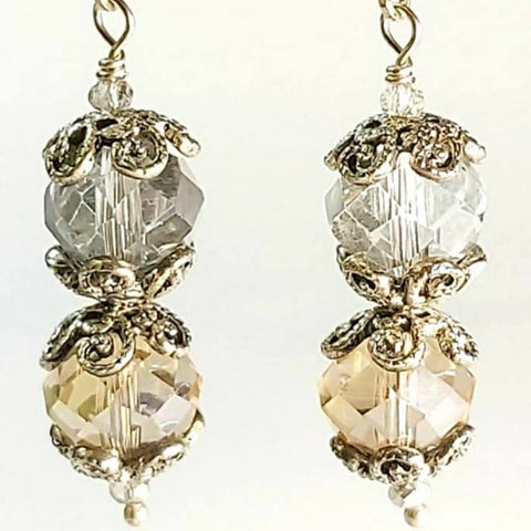Silver and Topaz Coloured Crystal Earrings Vintage Style, By Lapanda Designs