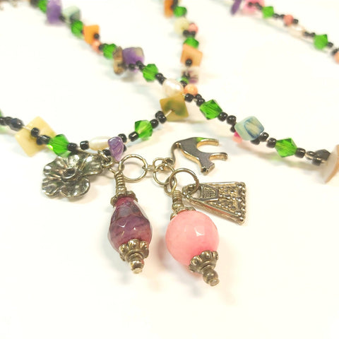 Colourful Gemstone Charm Necklace, By Lapanda Designs. Parade-Handmade