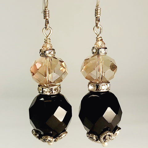 Black Crystal Earrings, By Lapanda Designs. Parade-Handmade.