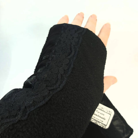 Black Fleece Wrist Warmers, By Parade-Handmade