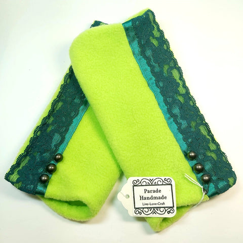 Vintage Wrist Warmers, Green Lace, Parade-Handmade
