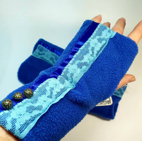 Fleece Wrist Warmers, Royal Blue, By Parade-Handmade