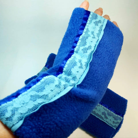 Fleece Wrist Warmers, Blue, By Parade-Handmade