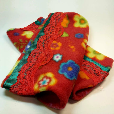 Wrist Warmers in Red Floral. Parade-Handmade