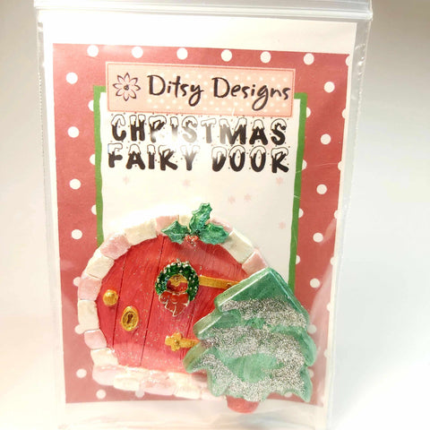 Christmas Fairy Door In Red and Pink, By Ditsy Designs