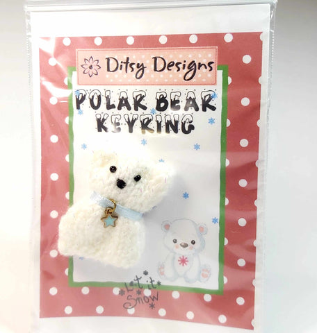 "Polar Bear with Star Keyring, 1.5"" Knitted, By Ditsy Designs. Parade-Handmade"