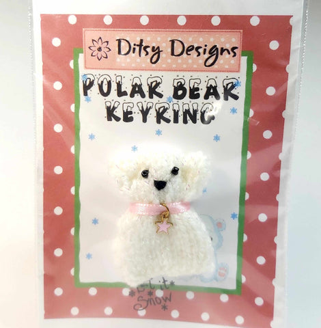 "Christmas Polar Bear Keyring, 1.5"" Knitted, By Ditsy Designs. Parade-Handmade"