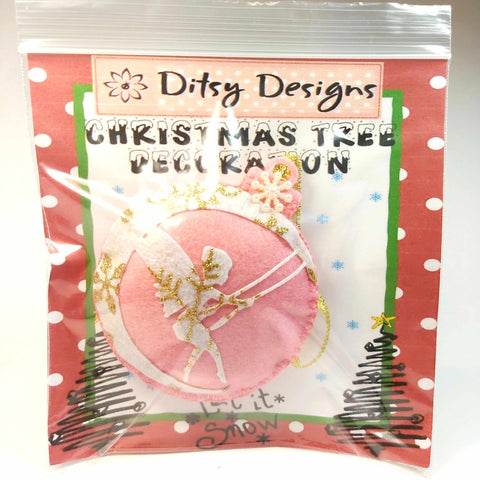 Pink Felt Fairy Christmas Tree Ornament, By Ditsy Designs. Parade-Handmade