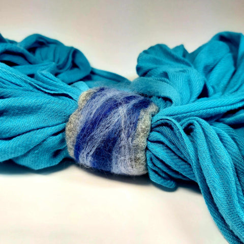 Felt Scarf Cuff in Blues and Grey. Parade-Handmade