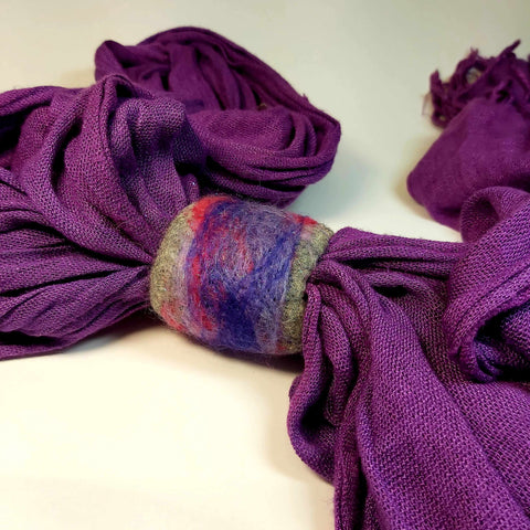 Felt Scarf Cuff in Purple, Pink and Grey. Parade-Handmade