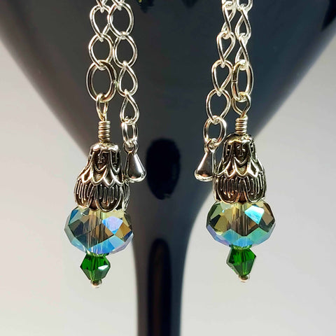 Green Crystal Deco Drop Earring, By Lapanda Designs. Parade-Handmade