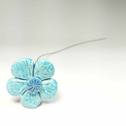 Single Pottery Flower in Turquoise, By Kurilla Pottery. Parade-Handmade