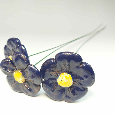 Pottery Flowers In Navy and Yellow, By Kurilla Pottery. - Parade Handmade