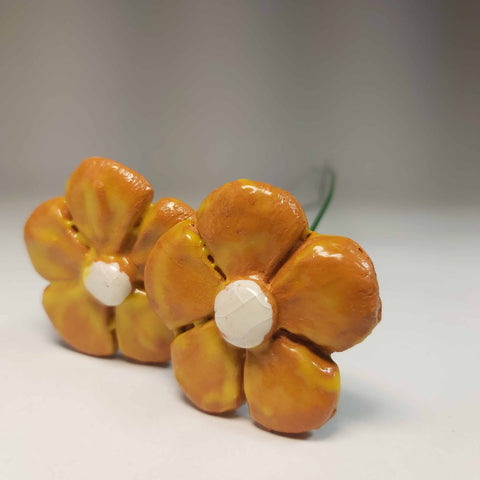 Orange, Yellow and White Pottery Flowers, By Kurilla Pottery