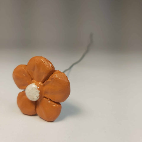 Orange and White Pottery Flower, By Kurilla Pottery - Parade Handmade