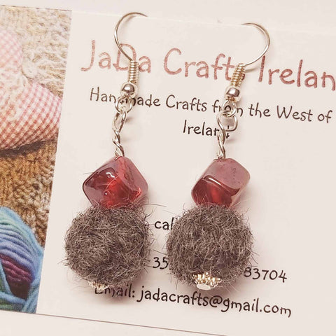 Felt Earring With Red Glass, By JaDa Crafts Ireland - Parade Handmade