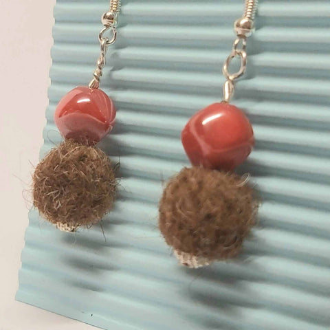 Felt Earring, Brown With Red Glass, By JaDa Crafts Ireland - Parade Handmade